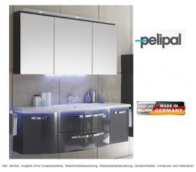 Pelipal Badmöbel als Set Solitaire 7005 Spiegelschrank mit Kranz Beleuchtung und Waschtischset 150 cm