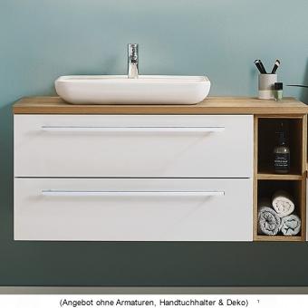 Puris Kera Plan Waschtischset 110 cm mit Aufsatzwaschbecken aus Keramik links