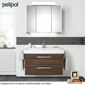 Pelipal Solitaire 9005 Badmöbel Set 90 cm mit Spiegelschrank und Waschtischset mit 2 Auszügen
