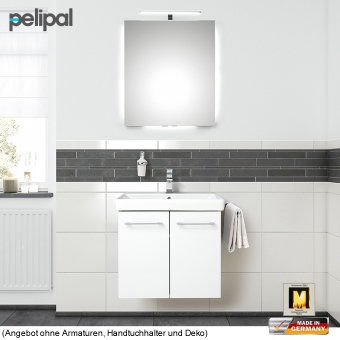 Pelipal Solitaire 9005 Badmöbel Set 60 cm mit Funktionsspiegel und Waschtischset mit 2 Türen