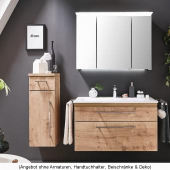 Puris Cool Line Badmöbel als Set 90 cm mit Spiegelschrank Serie B