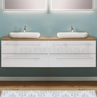 Puris Kera Plan Waschtisch als Set 180 cm Doppelwaschplatz mit Aufsatzwaschbecken aus Keramik