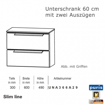 Puris Slim line Unterschrank 60 cm Breite