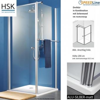 HSK Exklusiv Dusche aus Glas / Drehtür mit Seitenwand - 90x90x200 cm ...