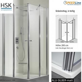 hsk dusche aus glas eckeinstieg 100x100x200 cm 4 teilig impulsbad. Black Bedroom Furniture Sets. Home Design Ideas