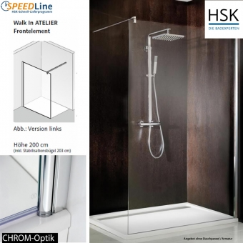 HSK Walk in Atelier - 90x200 cm - 1-Frontelement
