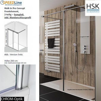 HSK Walk in Pro Concept - 140x200 cm - 2-teilig - Anschlag rechts