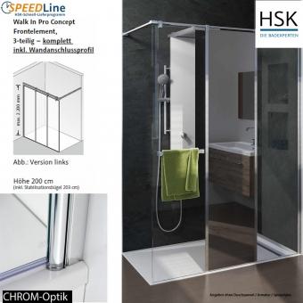 HSK Walk in Pro Concept - 140x200 cm - 3-teilig - Anschlag rechts