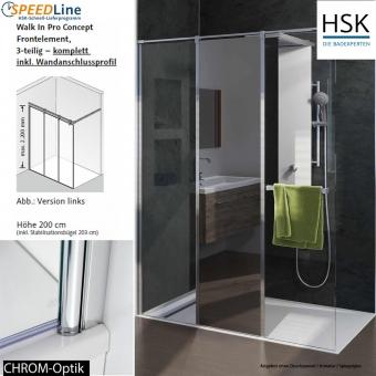HSK Walk in Pro Concept - 160x200 cm - 3-teilig - Anschlag links