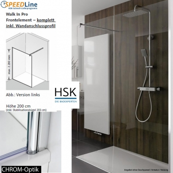 HSK Walk in Pro - 90x200 cm - 1-Frontelement