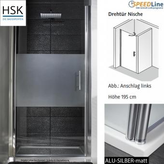 HSK Dusche aus Glas / Nischenlösung mit Pendeltür - 100x195 cm - 1-teilig - Anschlag links