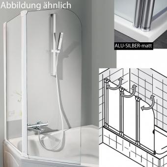 HSK Favorit Badewanennaufsatz - 3-teilig - 120 cm Breite / 140 cm Höhe - Variante links - Alu-silber-matt