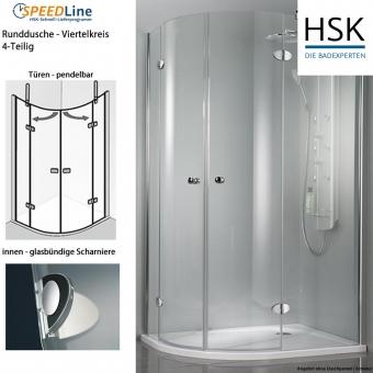 HSK Viertelkreisdusche aus Glas - 90x90x200 cm - 4-teilig - Classic