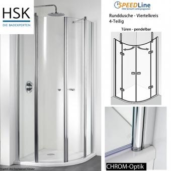HSK Viertelkreisdusche aus Glas - 90x90x200 cm - 4-teilig