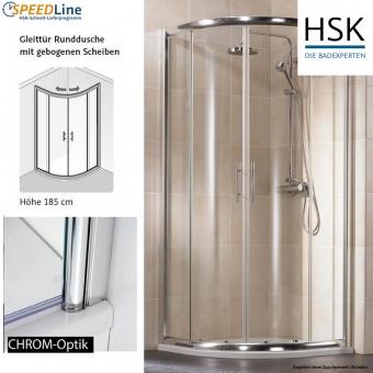 HSK Viertelkreisdusche aus Glas - 90x90x185 cm - Gleittürdusche