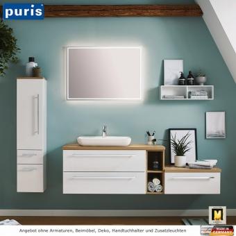 Puris Kera Plan Badmöbel Set 170 cm mit Aufsatzwaschbecken aus Keramik