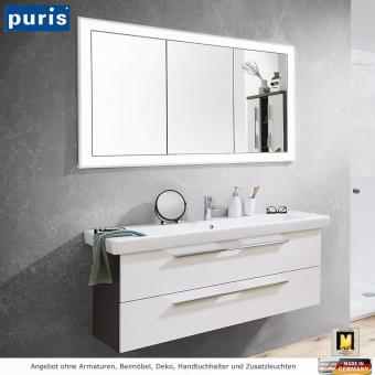 Puris Kera Plan Badmöbel Set mit Einbauspiegelschrank 130 cm