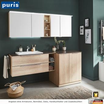 Puris Kera Plan Badmöbel Set mit XL Spiegelschrank 180 cm