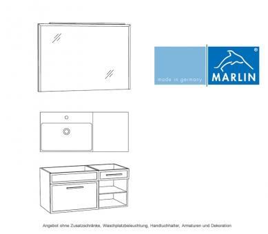 marlin badm bel als set loop mit spiegelpaneel und waschtischunterschrank mit regal 100 cm. Black Bedroom Furniture Sets. Home Design Ideas