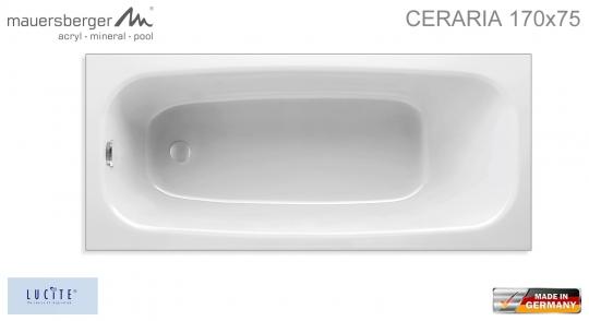 Mauersberger Badewanne CERARIA 170 x 75 cm - Rechteck - ACRYL