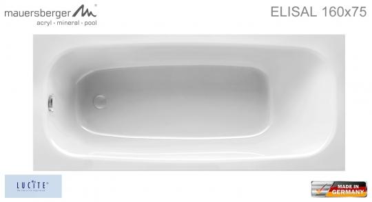 Mauersberger Badewanne ELISAL 160 x 75 cm - Rechteck - ACRYL