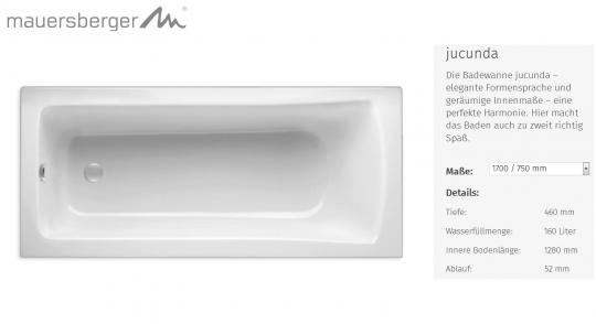 Mauersberger Badewanne JUCUNDA 170 x 75 cm - Rechteck - ACRYL