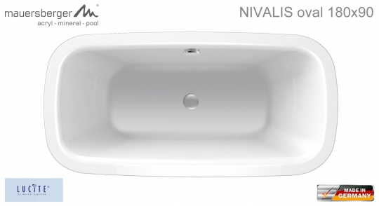 Mauersberger Badewanne NIVALIS 180 x 90 cm - ACRYL - oval