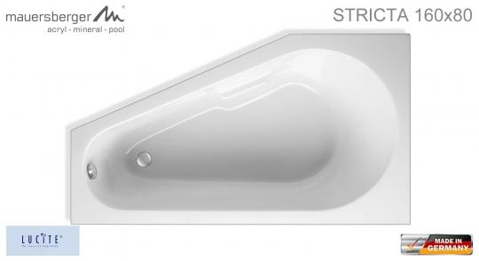 Mauersberger Badewanne STRICTA 160 x 80 cm - ACRYL - Kompakt-Wanne - rechts R