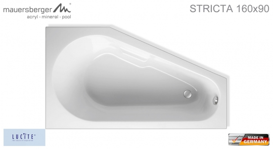 Mauersberger Badewanne STRICTA 160 x 90 cm - ACRYL - Kompakt-Wanne - links L