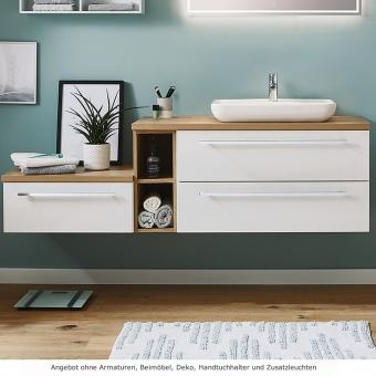 Kera Plan Waschtisch im Set 170 cm mit Aufsatzwaschbecken aus Keramik rechts