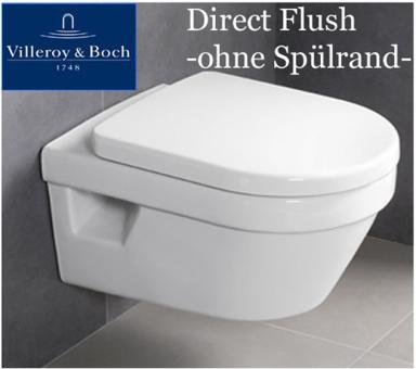 Villeroy&Boch Architectura WC ohne Spülrand, Directflush als Paket WC mit Sitz und Schallschutz
