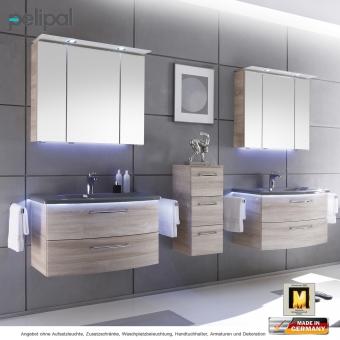 Pelipal Badmöbel als Set Solitaire 7005 Spiegelschrank mit Kranzbeleuchtung und Waschtischset 85 cm