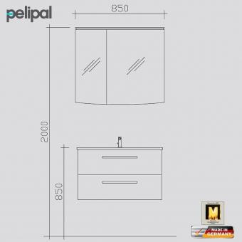 Pelipal Solitaire 9020 Badmöbel als Set 80 cm mit Spiegelschrank inkl. LED-Beleuchtung im Kranz