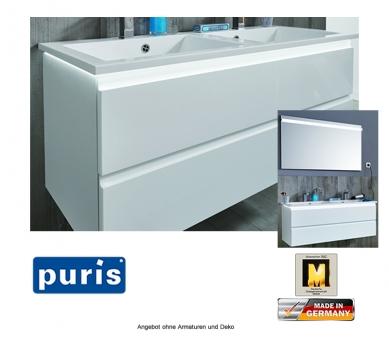 Puris Ace Doppelwaschtisch Set optional mit LED Beleuchtung 122 cm