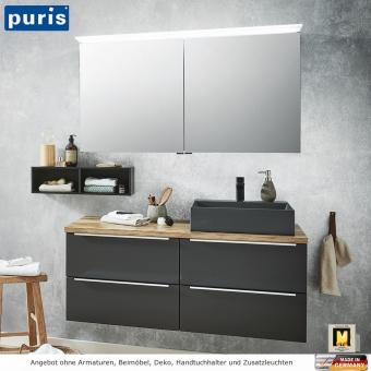 Puris Aspekt Badmöbel Set 120 cm mit Spiegelschrank