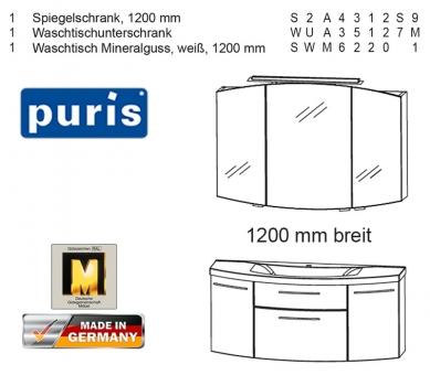 Puris Classic Line Badmöbel als Set 120 cm