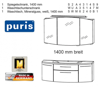 Puris Classic Line Badmöbel als Set mit Spiegelschrank 140 cm