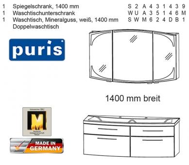 Puris Classic Line Badmöbel als Set mit Doppelwaschtisch 140 cm