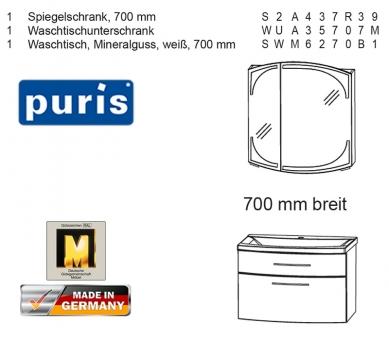 Puris Classic Line Badmöbel als Set 70 cm