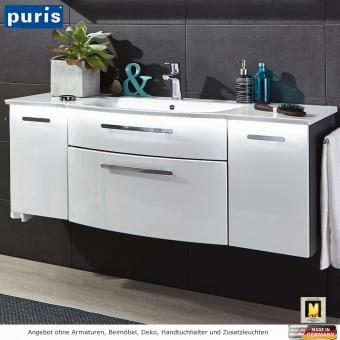 Puris LINEA Waschtisch-Set 130 cm mit 2 Auszügen und 2 Türen und optionaler LED Beleuchtung