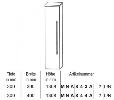 Puris Classic Line Mittelschrank mit Innenschubkästen 30 cm