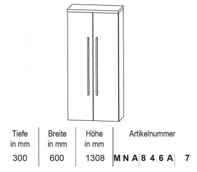 Puris Classic Line Mittelschrank mit Innenschubkästen 60 cm