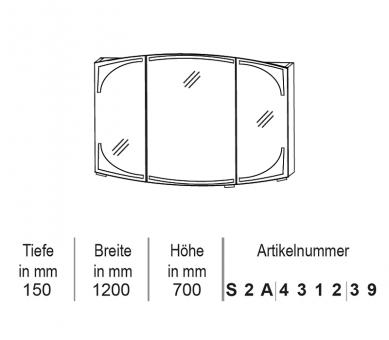 Puris Classic Line Spiegelschrank mit LED-Beleuchtung 120 cm