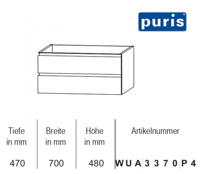 puris variado 2 0 waschtischunterschrank 70 cm impulsbad. Black Bedroom Furniture Sets. Home Design Ideas