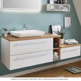 Puris Kera Plan Waschtischset 170 cm mit Aufsatzwaschbecken aus Keramik links