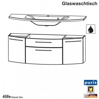 Puris Classic Line Badmobel Als Glas Waschtisch Set 120 Cm 2 Turen