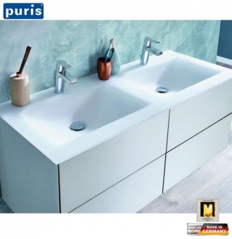 Puris ICE LINE Doppel-Waschtisch-Set 120 cm mit Glas-Waschtisch