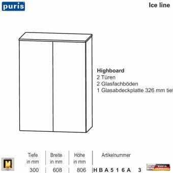 Puris ICE LINE Highboard 60 cm / 2 Türen - HBA516A3