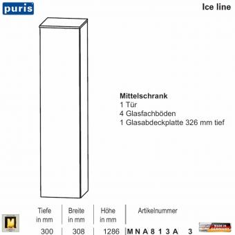 Puris ICE LINE Mittelschrank 30 cm / 1 Tür - MNA813A3