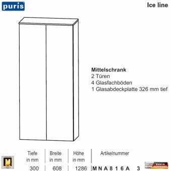 Puris ICE LINE Mittelschrank 60 cm / 2 Türen - MNA816A3